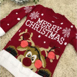 Merry Christmas - Röd Jultröja till Barn med Rudolf-Motiv
