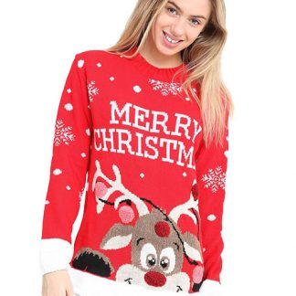 Merry Christmas - Röd Rudolf Jultröja med Pom Poms