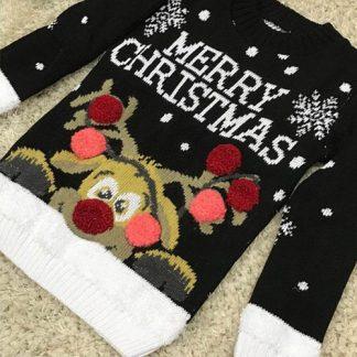 Merry Christmas - Svart Jultröja till Barn med Rudolf-Motiv