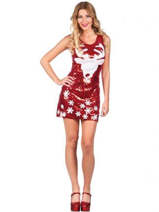 Paljetterad Julklänning med Renmotiv