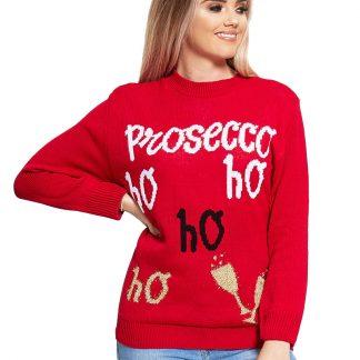 Prosecco Ho Ho Ho - Röd Stickad Jultröja