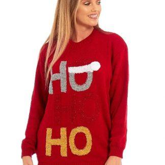 Röd HOHOHO Jultröja med Glitter