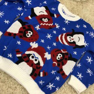 Blå Stickad Jultröja till Barn med Pingvin-Motiv