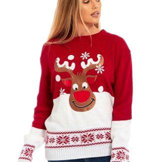 Happy Rudolf - Röd Stickad Jultröja med Mjukt Motiv