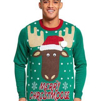 Merry Christmoose - Grön Stickad Jultröja till Man