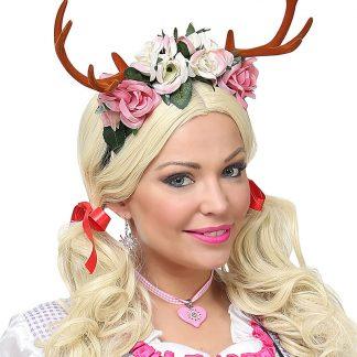 Oktoberfest Hårband med Horn och Blommor