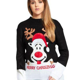 Santas Reindeer - Svart Stickad Jultröja med Mjukt Motiv