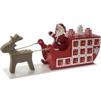 Tomte med Släde och Ren - Julkalender i Trä 45x19 cm