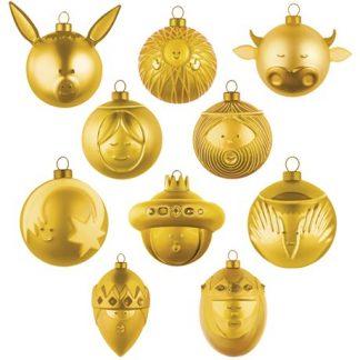 Alessi - Guldiga julgranskulor, 10-pack