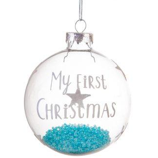 "Julgranskula ""My first Christmas"", blå"