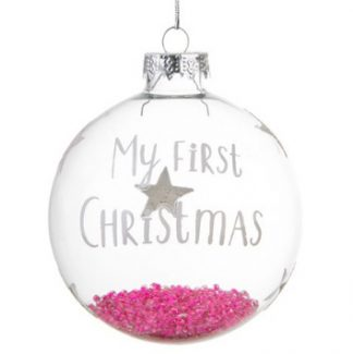 "Julgranskula ""My first Christmas"", rosa"