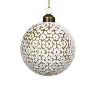 Julgranskula gammaldags vit rund