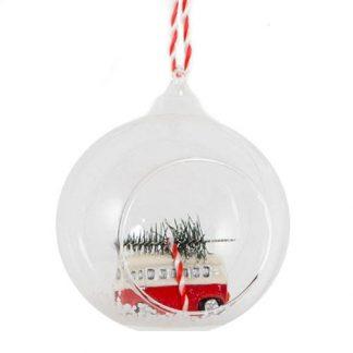 Julgranskula i glas med van och julgran