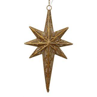 Julstjärna lampa i mässing hängandes