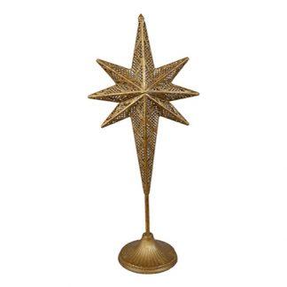 Julstjärna lampa i mässing på fot