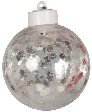 1 stk Julkula med Silverfärgad Konfetti och LED-Ljus 8 cm