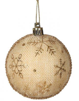 2 stk Beige och Guldfärgade Julkulor 7 cm