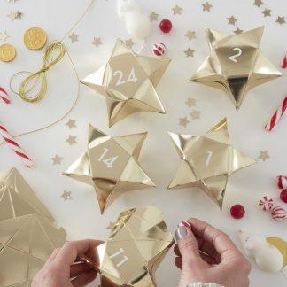 24 stk Guldfärgade Stjärnformade Advents-Askar / Julkalender med Klistermärken och och Snöre