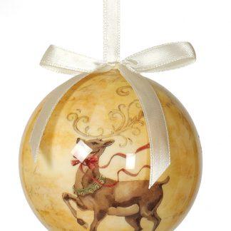 6 stk Beige Julkulor med Renmotiv