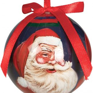 6 stk Blå Julkulor med Jultomtemotiv