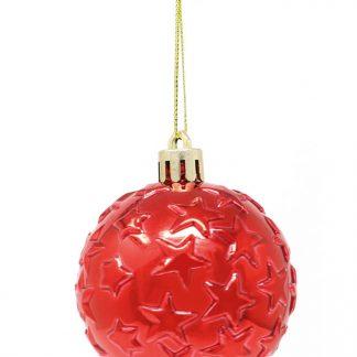 6 stk Metalliska Röda Julkulor med Stjärnor