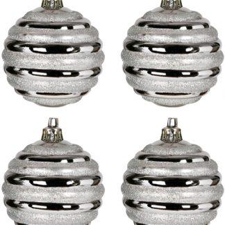 6 stk Metalliska Silverfärgade Julkulor med Randigt Glitter
