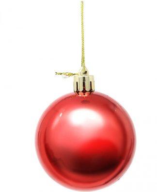 6 stk Metalliskt Röda Julkulor