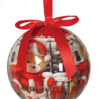 6 stk Röda Julkulor med Nallemotiv