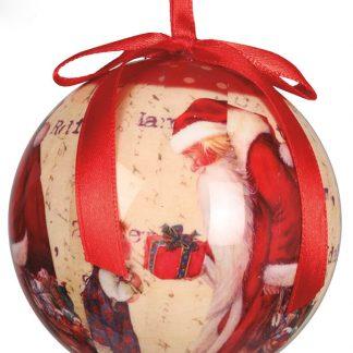 6 stk Röda Julkulor med Tomtemotiv