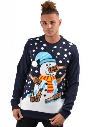 Drunk Snowman - Marinblå Stickad Jultröja med Snögubbs-Motiv till Man