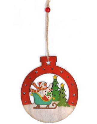 Julkula i Trä med Snögubbe - 12 cm Julgranspynt