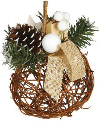 Julkula med Grenar, Kotte och Paket - 16 cm Juldekoration