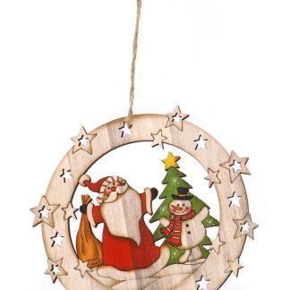 Julkula med Jultomte och Snögubbe - 15 cm Julgranspynt