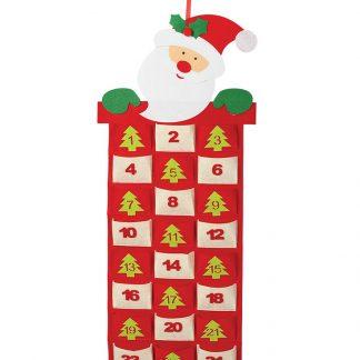 Jultomte Julkalender med 24 Luckor 87x36 cm