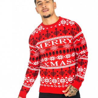 Röd Stickad Merry Xmas Jultröja till Man