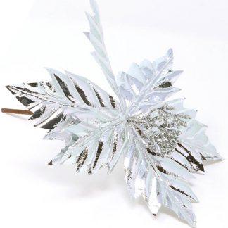 Silverfärgad Julblomma / Julstjärna Bordsdekoration