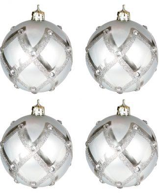 6 stk Silverfärgade Julkulor med Glitter och Stenar
