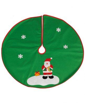 Grön Julgransmatta med Tomtemotiv och Röd Kant 90 cm