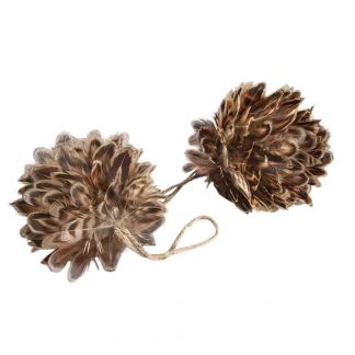 Julgranskula Fjäder Brun 8 cm