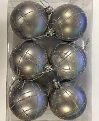 6 stk Matta Silverfärgade Julkulor med Randigt Glitter
