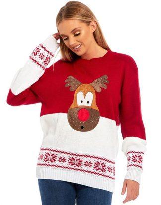 Surprised Rudolf - Röd Stickad Jultröja med Mjukt Motiv och Stenar