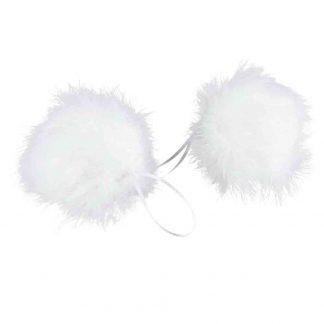 Julgranskula Fjäder Fluffy vit 10 cm