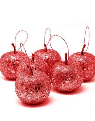 6 stk Äppelformade Julkulor med Rött Glitter 5 cm