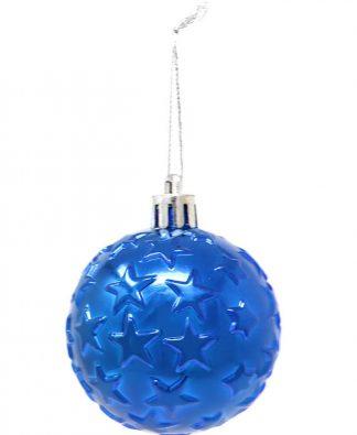 6 stk Metalliskt Blå Julkulor med Stjärnor