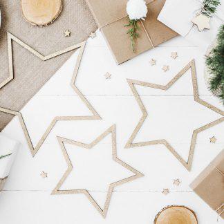 Dekoration Stjärnor Guldglitter 3-pack