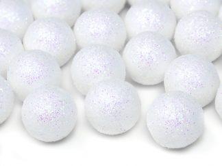 Dekorationsbollar Vita Glitter - Liten