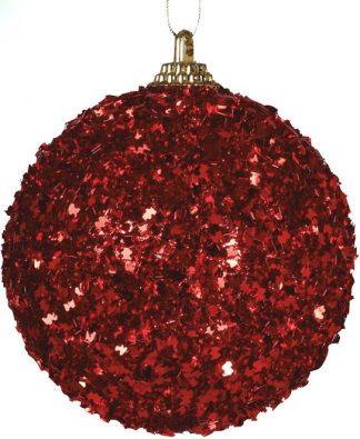 3 stk Julkulor med Rött Glitter 7 cm