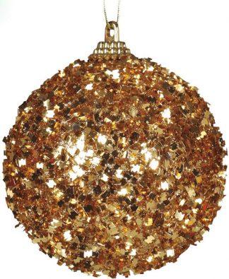 4 stk Julkulor med Guldfärgat Glitter 6 cm