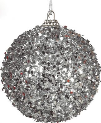 4 stk Julkulor med Silverfärgat Glitter 6 cm