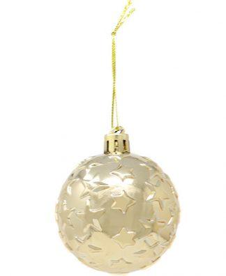 6 stk Metalliska Guldfärgade Julkulor med Stjärnor